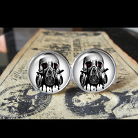 Gas Mask Skull Cuff Links Men, Wedding,Groomsmen,Groom - Cufflinks | RebelsMarket