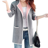Long Sweaters 2016 Women New Autumn All-match Patchwork Full sleeve Slim Pocket Knitted Cardigan Sweater M-XXXL Free shipping