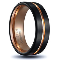 8mm Tungsten Ring Rose Gold Plated Inlay Groove Brushed Flat Cut Edge Wedding Band