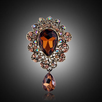 2015 Autumn New Gold Brooch Bouquet Brand Jewelry Big Red Brooch Pins For Women Wedding Jewelry Clothes Scarf  Accessories
