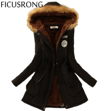 2016 Winter Womens Parka Casual Outwear Military Hooded Coat Winter Jacket Women Fur Coats Women's Winter Jackets And Coats TFR4