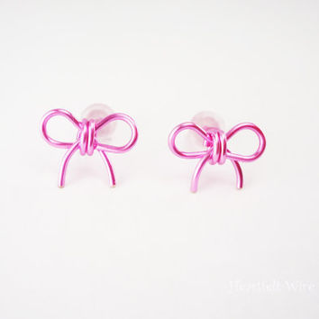 Bow Earring Studs, Rose Pink