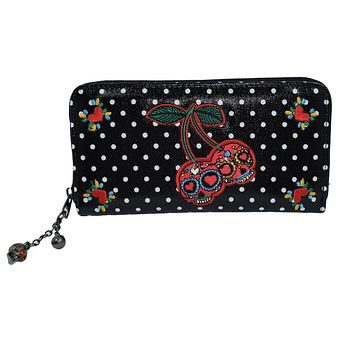 Banned Rockabilly Punk Rock Skull Cherry Polka Dot Zip Around Wallet