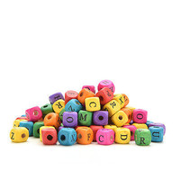 100 Pcs Kids DIY Mixed Letters Cube Wood Beads Craft Toy Making Decor