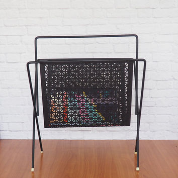 Black Metal Magazine Rack, Mid Century Modern, Atomic