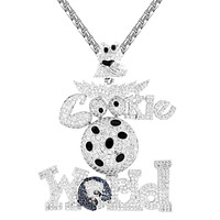 Mens White Tone Cookie World 3D Custom Bling Rapper Pendant