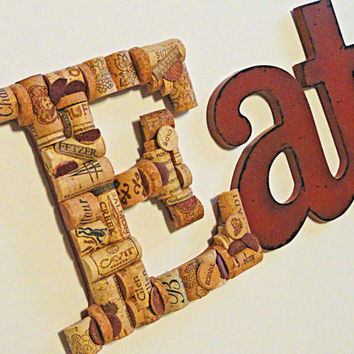Eat Sign Wine & Food Wine Cork Art Eat Wine Cork Letters Wall Art