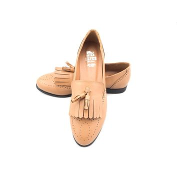 Faisal brown loafers with top and twin tassels