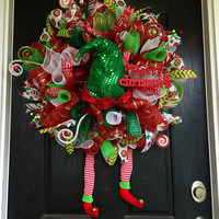 Elf wreath, Christmas deco mesh wreath, Christmas Elf wreath, holiday wreath, front door wreath, Elf deco mesh wreath