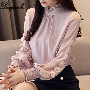 Dingaozlz New Ruffles collar Women long sleeve Chiffon blouse Korean fashion Lantern Sleeve Office lady shirt Flower Tops