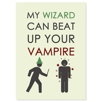 Funny Harry Potter Inspired Card - My Wizard Can Beat Up Your Vampire | TheWanderingReader - Cards on ArtFire