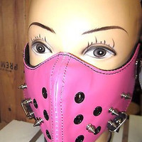Spike Spiked Pink Mask Motorcycle Goth Punk Bondage PaintBall Gothic Metal-New!