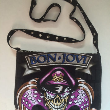 BON JOVI - Upcycled/ Reclaimed Rock T-Shirt Sling Purse - ooak