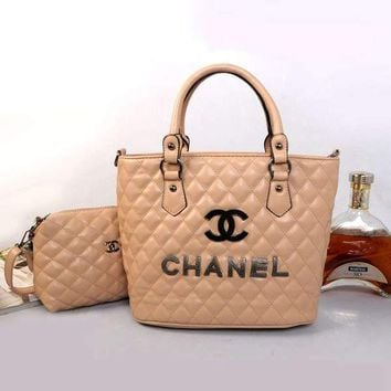 CHANEL Women Fashion Shopping Leather Satchel Tote Handbag Two Piece Set