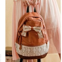 Fashion Brown Floral With Bow Lace Backpack