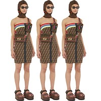 FENDI Summer Newest Fashion Women Sexy F Letter Print Strapless Zipper Dress