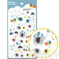 Colorful Elephant and Raindrops Themed Animal Shaped Jelly Stickers for Scrapbooking