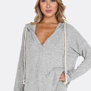 Peppered Rope Tie Hoodie Sweater HEATHER GREY | MakeMeChic.COM