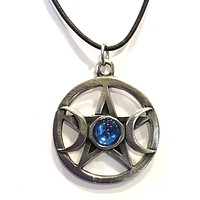 Pentacle Star with Moons and Colored Glass Wiccan Pewter Pendant Charm Necklace - Blue