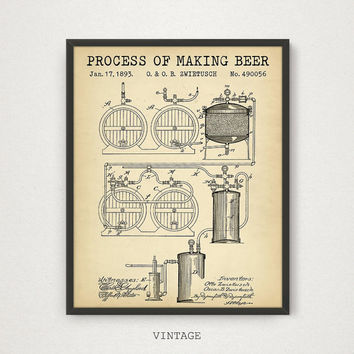 Beer Making Patent Print, Digital Download Blueprint Art, Beer Poster, Beer Art, Bar Decor, Pub Wall Art, Beer Lover Gifts, Vintage Beer Art