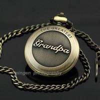 Best Gift for Dad Father Fathers Day Present Retro Vintage Antique Pocket Pendant Watch for Grandpa _ 2479