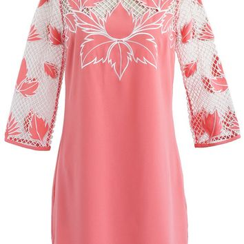 Red Leaves Net Shoulder Tunic