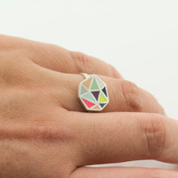 POLIEDRA multicolor sterling silver and polymer clay ring