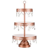 3-Tier Crystal-Draped Dessert Stand | Rose Gold | Sophia Collection