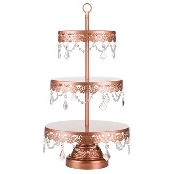 3-Tier Crystal-Draped Dessert Cupcake Stand (Rose Gold)