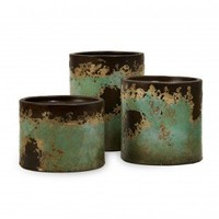 IMAX 3 Piece Mazatlan Pillar Candleholder Set in Teal - 6866-3 - Candles & Holders - Decorative Accents - Decor