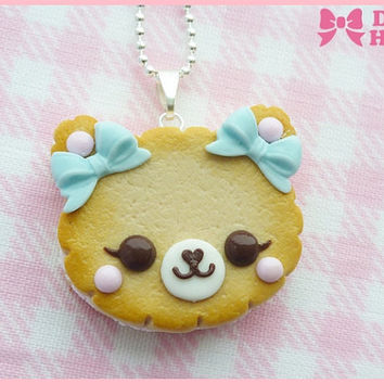 Cookie Bear With Blue Bows  Necklace by Dolly House