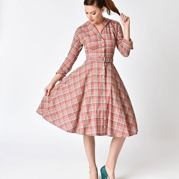 Unique Vintage 1950s Style Pink Plaid Cotton Sleeved Brooklyn Shirtdress