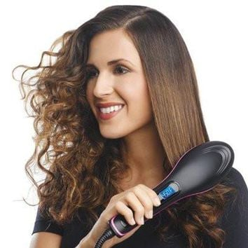 Good Quality Digital Hair Straightener Electric Hair Brush 100-240v fast flat iron Comb pranchas de cabelo brosse lissante GMR86