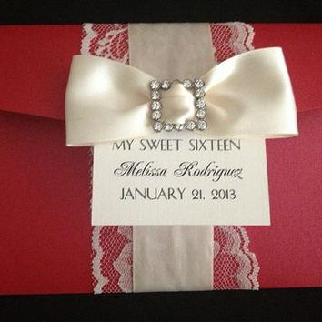 50 Wedding RED Pocketfold with CREAM Lace by PaperDivaInvitations