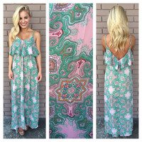 Pink & Green Paisley Maxi Dress