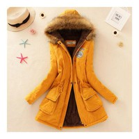 Woman Long Sleeve Cotton Coat Jacket  Fake Lamb Wool