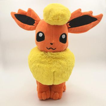 New Large Flareon 13''34cm Kawaii Eevee Anime Figure Plush Toy Soft Dolls Gifts For Children Free Shipping