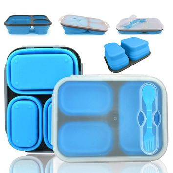 Portable lunch boxs Silicon Collapsible microwave Lunchbox bento lunch boxs folding lunchbox set food container