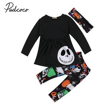 Toddler Baby Boys Girls Kids Skeleton Print Short Sleeve T-Shirt Tops Long Pants Headband 2017 Autumn Clothes Outfits 2-7Y