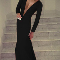 Black Deep V Long Sleeve Bodycon Maxi Dress