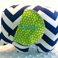 Baby Boy Navy Blue Chevron Lime Green Polka Dots Stuffed Elephant Toy