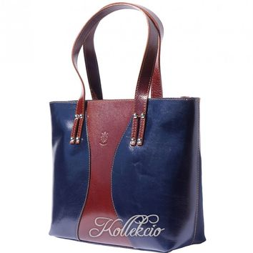 Large Blue/Brown Italian Genuine Leather Handbag/Shoulder Bag
