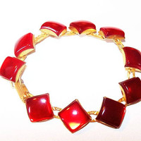 "Princess Stone Bracelet Red Moon Glow Links Gold Metal 6.5"" Vintage Mid Century"