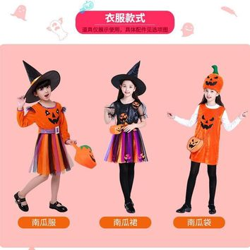Halloween children's costume witch girl witch costume cosplay show costume characters play princess clothes