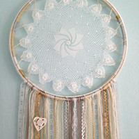 White Doily Dreamcatcher on a  Double Wrapped Vintage Wooden Embroidery Hoop.