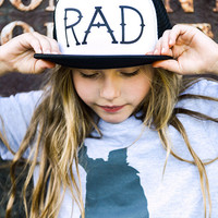 "The ""RAD"" Hat by Hatch For Kids - Foam Mesh Flat Bill Visor Trucker Cap Children's Unisex Headwear Snapback Black White - One Size Fits All"