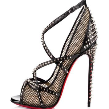 Christian Louboutin ALARC 100 Spike Mesh Strappy Heels Sandals Shoes Black $1350