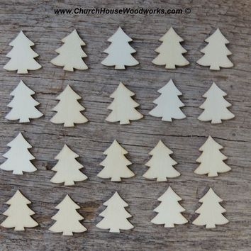 50 Mini Wooden Christmas Tree Ornaments (light wood) 1 inch