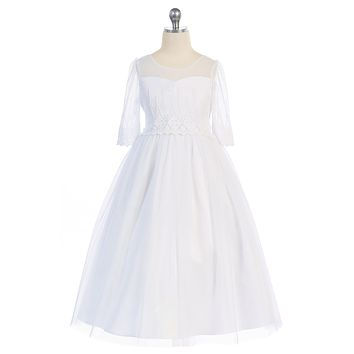 Girls Scalloped Embroidered Mesh Formal Dress w. Illusion Sleeves