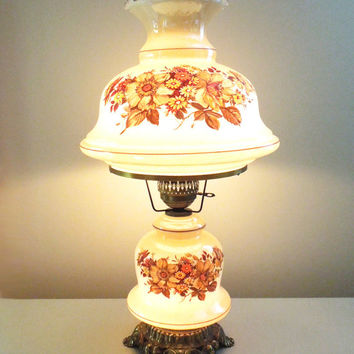 Vintage large hurricane lamp and night light with painted flowers and brass base and hardware - Excellent condition